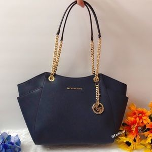 MWT Michael Kors Jet Set Travel Chain Tote Navy